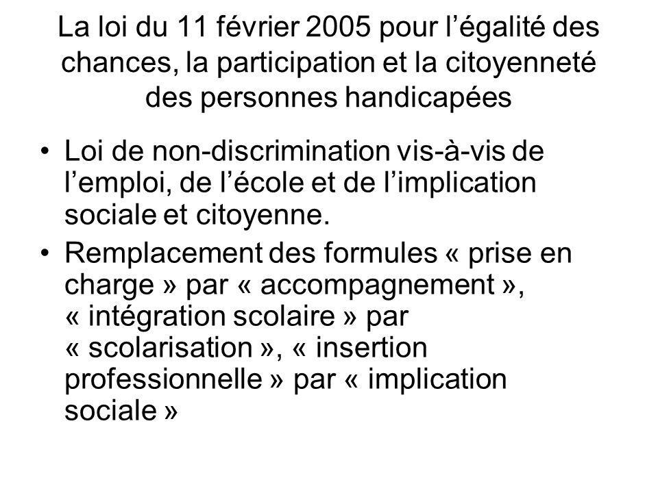 La loi du 11 février 2005 pour légalité des chances, la participation et la citoyenneté des personnes handicapées Loi de non-discrimination vis-à-vis