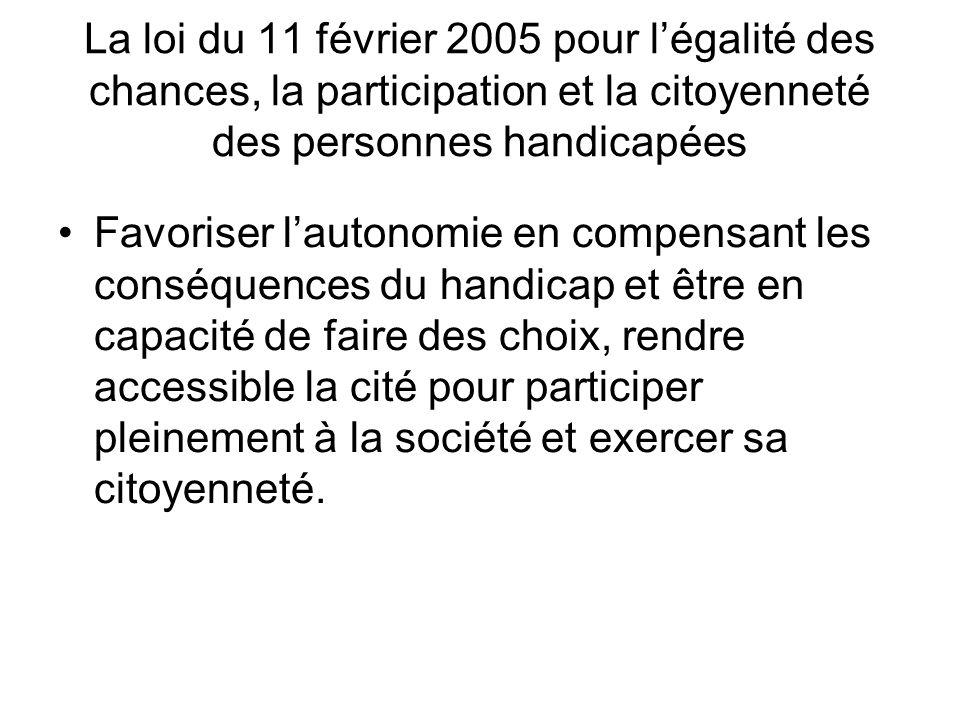 La loi du 11 février 2005 pour légalité des chances, la participation et la citoyenneté des personnes handicapées Favoriser lautonomie en compensant l