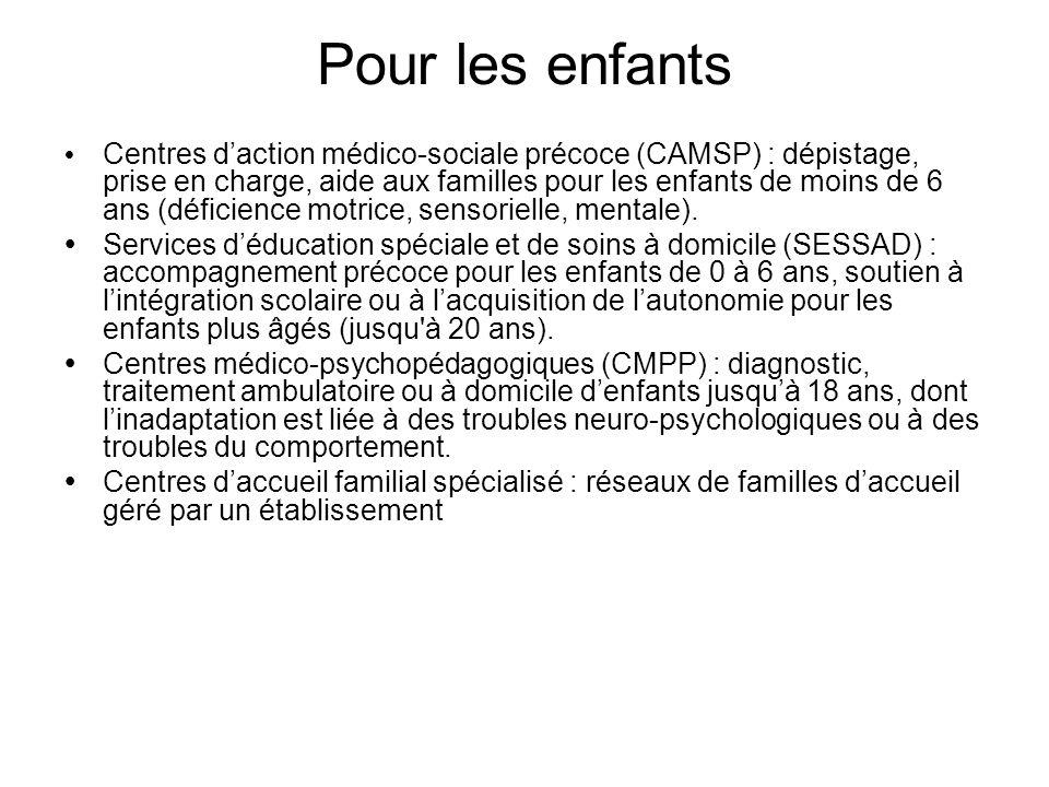 Pour les enfants Centres daction médico-sociale précoce (CAMSP) : dépistage, prise en charge, aide aux familles pour les enfants de moins de 6 ans (dé