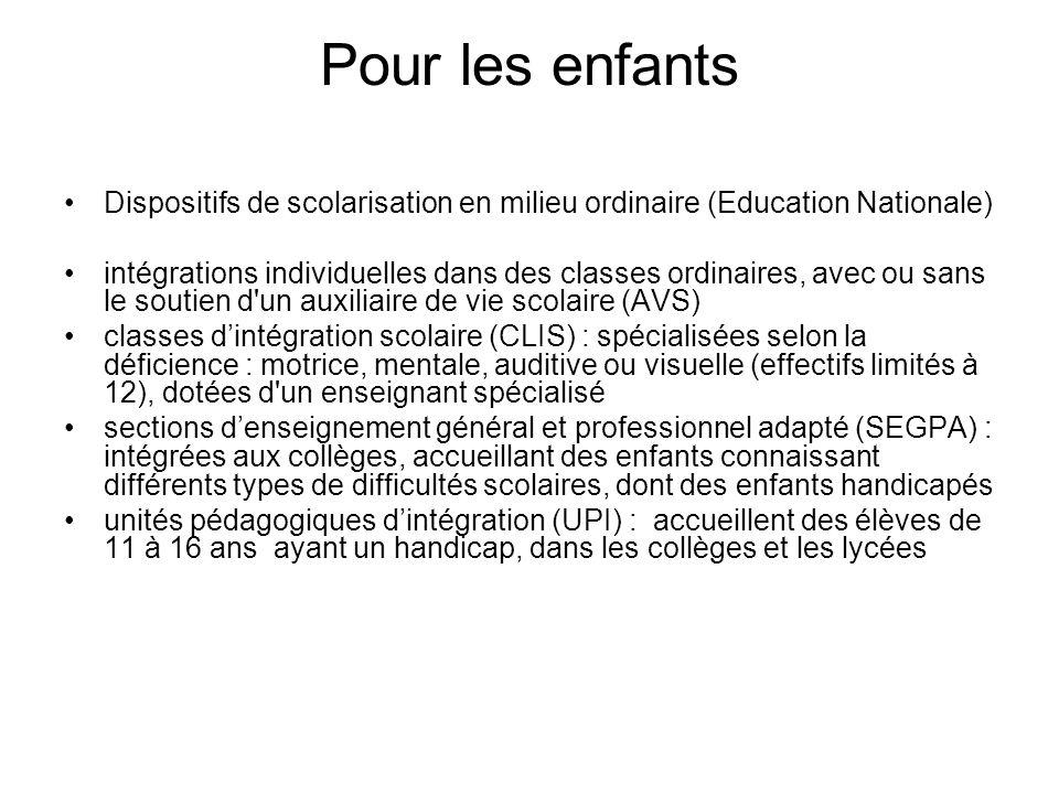 Pour les enfants Dispositifs de scolarisation en milieu ordinaire (Education Nationale) intégrations individuelles dans des classes ordinaires, avec o