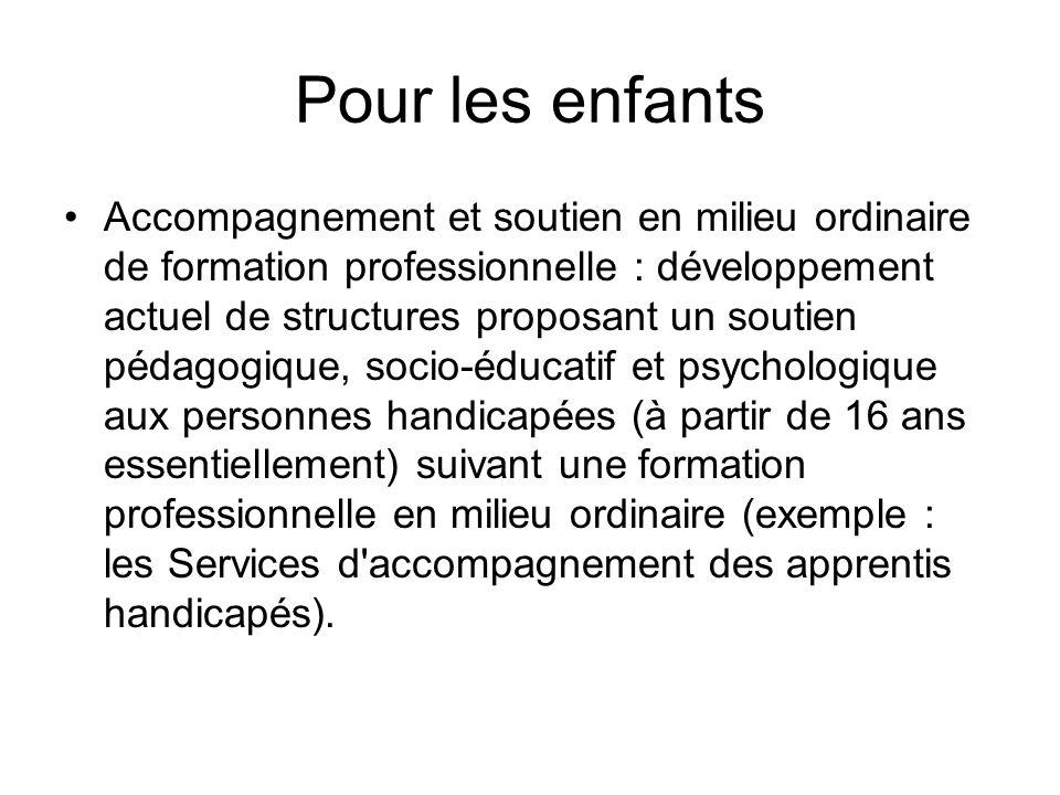 Pour les enfants Accompagnement et soutien en milieu ordinaire de formation professionnelle : développement actuel de structures proposant un soutien