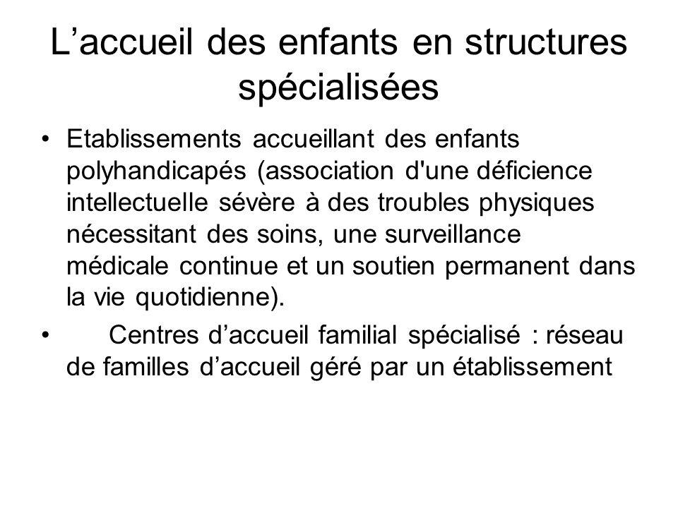 Laccueil des enfants en structures spécialisées Etablissements accueillant des enfants polyhandicapés (association d'une déficience intellectuelle sév