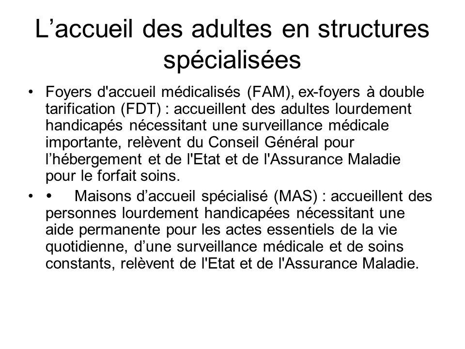 Laccueil des adultes en structures spécialisées Foyers d'accueil médicalisés (FAM), ex-foyers à double tarification (FDT) : accueillent des adultes lo