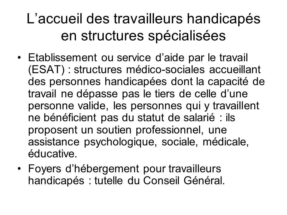 Laccueil des travailleurs handicapés en structures spécialisées Etablissement ou service daide par le travail (ESAT) : structures médico-sociales accu