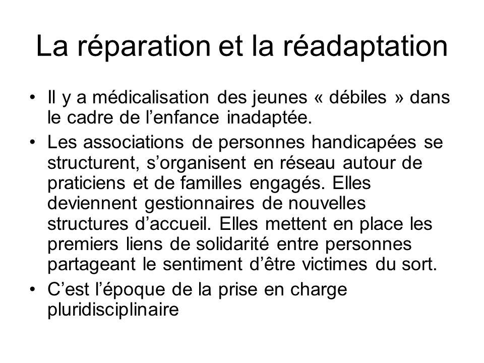 La réparation et la réadaptation Il y a médicalisation des jeunes « débiles » dans le cadre de lenfance inadaptée. Les associations de personnes handi