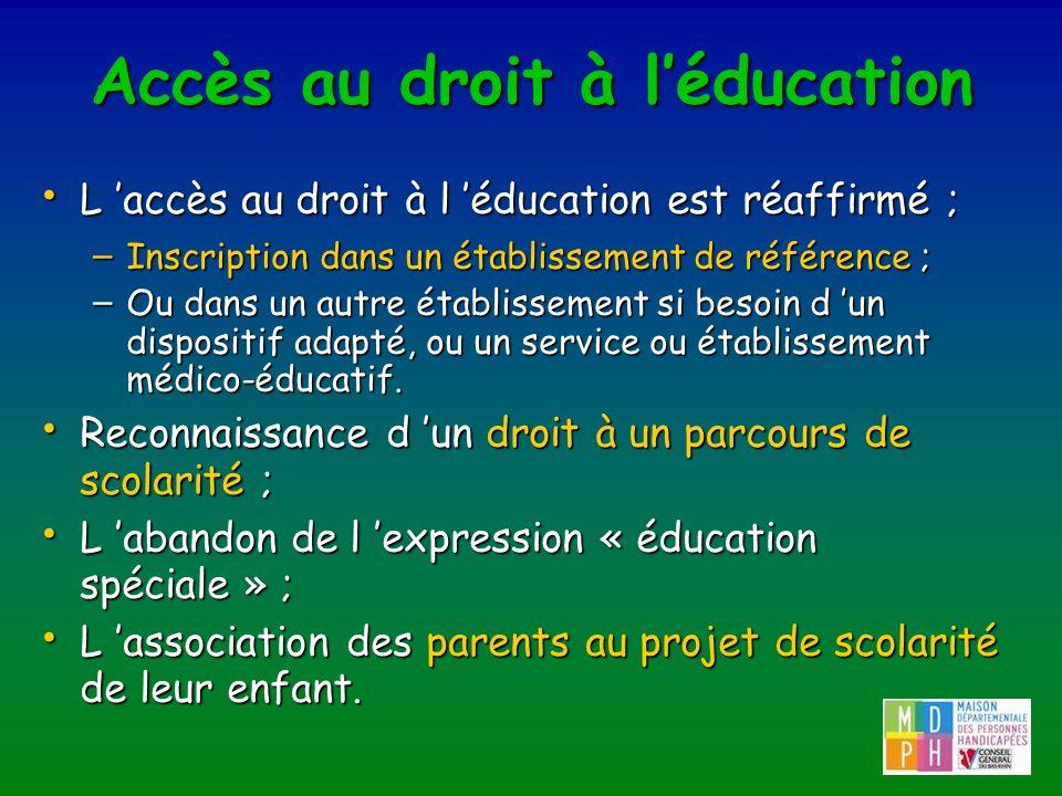 Accès au droit à léducation L accès au droit à l éducation est réaffirmé ; L accès au droit à l éducation est réaffirmé ; – Inscription dans un établi