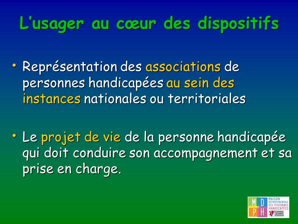 Lusager au cœur des dispositifs Représentation des associations de personnes handicapées au sein des instances nationales ou territoriales Représentat