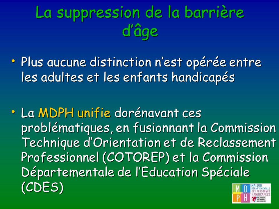 La suppression de la barrière dâge Plus aucune distinction nest opérée entre les adultes et les enfants handicapés Plus aucune distinction nest opérée