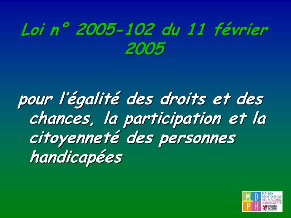 Loi n° 2005-102 du 11 février 2005 pour légalité des droits et des chances, la participation et la citoyenneté des personnes handicapées