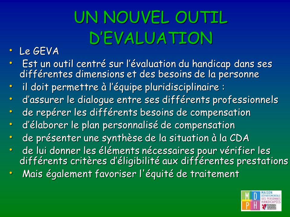 UN NOUVEL OUTIL DEVALUATION Le GEVA Le GEVA Est un outil centré sur lévaluation du handicap dans ses différentes dimensions et des besoins de la perso