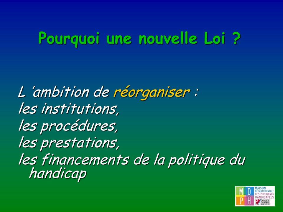 Pourquoi une nouvelle Loi ? L ambition de réorganiser : les institutions, les procédures, les prestations, les financements de la politique du handica