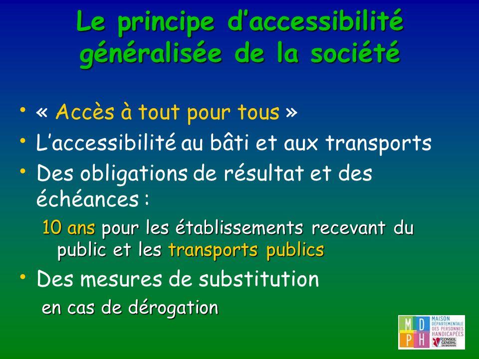 Le principe daccessibilité généralisée de la société « Accès à tout pour tous » Laccessibilité au bâti et aux transports Des obligations de résultat e