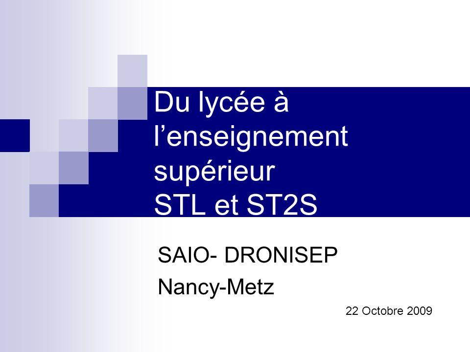 Du lycée à lenseignement supérieur STL et ST2S SAIO- DRONISEP Nancy-Metz 22 Octobre 2009