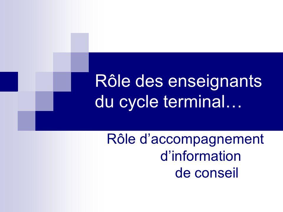 Rôle des enseignants du cycle terminal… Rôle daccompagnement dinformation de conseil