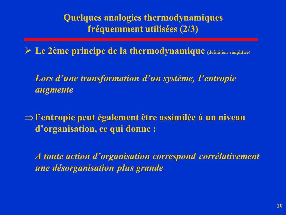 10 Quelques analogies thermodynamiques fréquemment utilisées (2/3) Le 2ème principe de la thermodynamique (définition simplifiée) Lors dune transforma