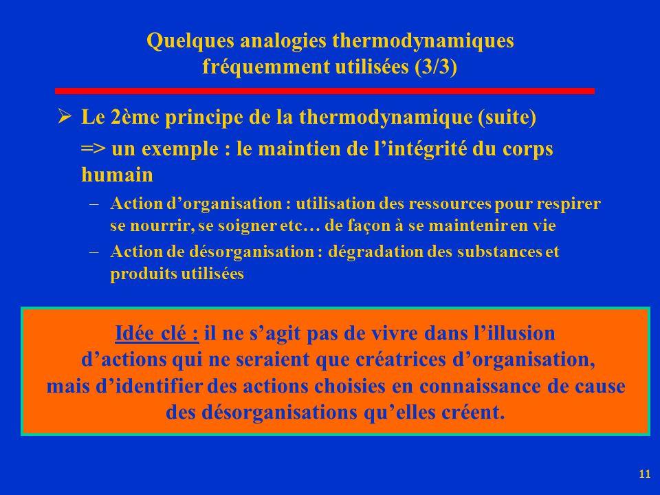 11 Quelques analogies thermodynamiques fréquemment utilisées (3/3) Le 2ème principe de la thermodynamique (suite) => un exemple : le maintien de linté
