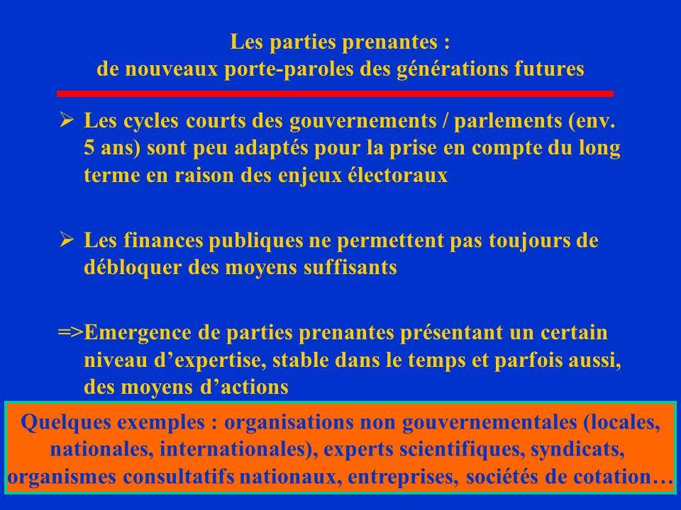 14 Les parties prenantes : de nouveaux porte-paroles des générations futures Les cycles courts des gouvernements / parlements (env. 5 ans) sont peu ad