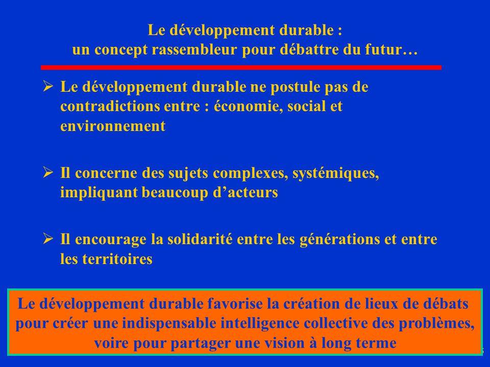 15 Le développement durable : un concept rassembleur pour débattre du futur… Le développement durable ne postule pas de contradictions entre : économi