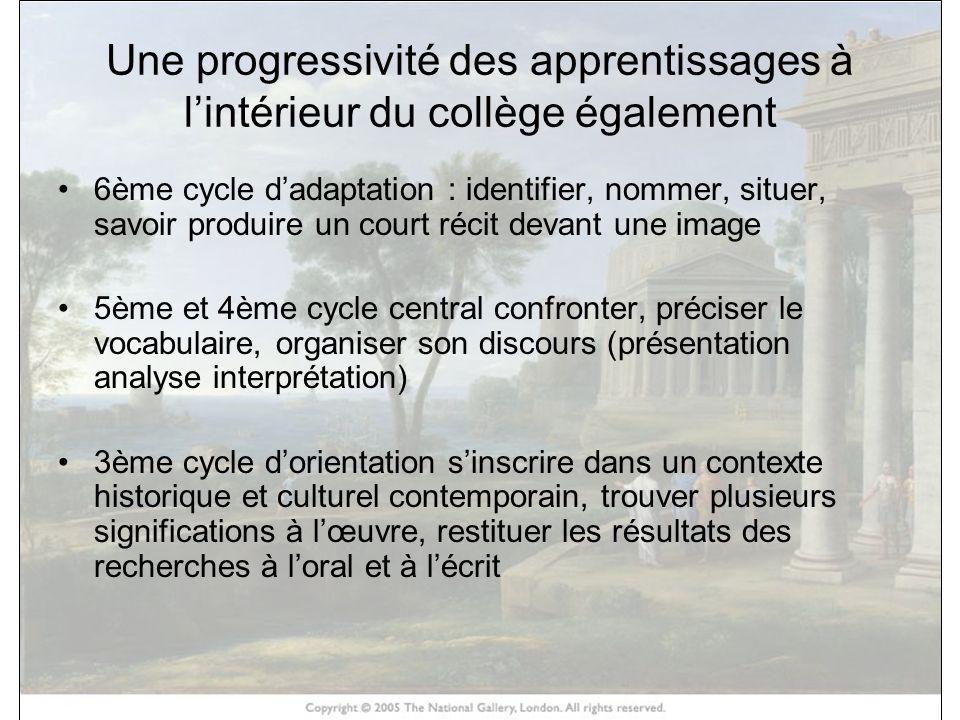 Une progressivité des apprentissages à lintérieur du collège également 6ème cycle dadaptation : identifier, nommer, situer, savoir produire un court r
