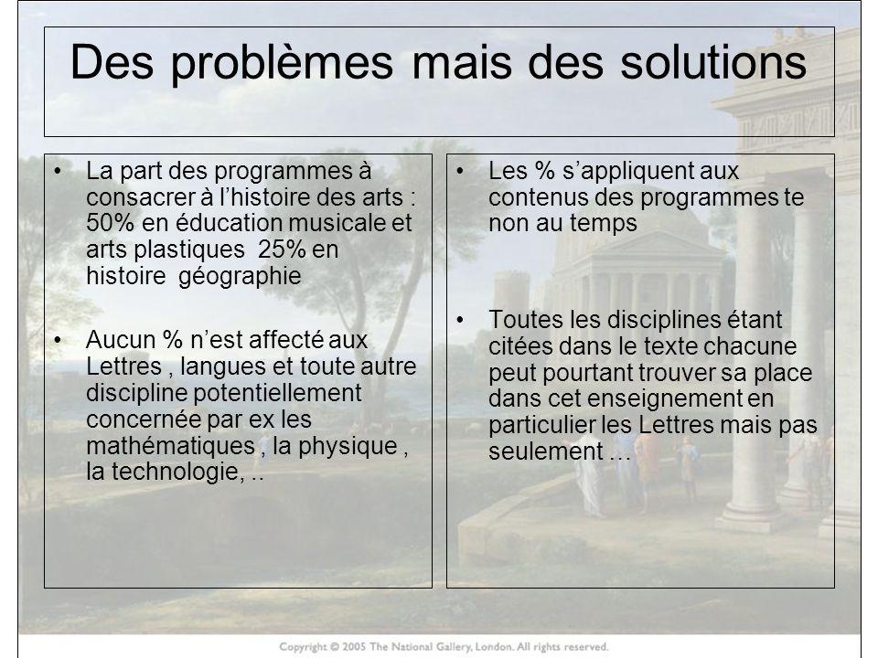 Des problèmes mais des solutions La part des programmes à consacrer à lhistoire des arts : 50% en éducation musicale et arts plastiques 25% en histoir