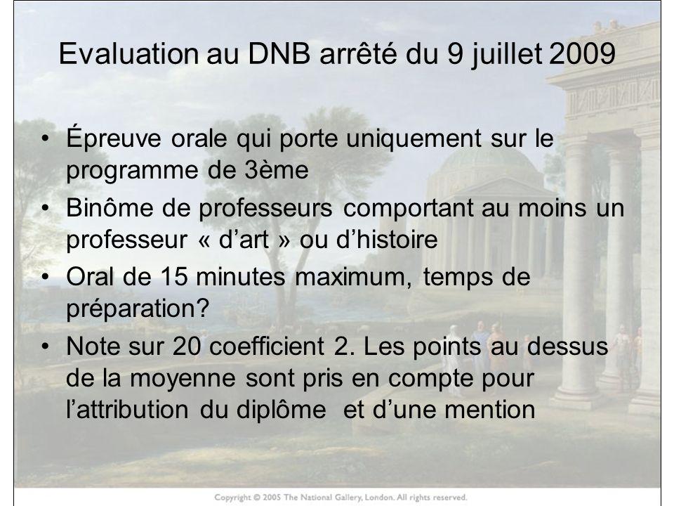 Evaluation au DNB arrêté du 9 juillet 2009 Épreuve orale qui porte uniquement sur le programme de 3ème Binôme de professeurs comportant au moins un pr