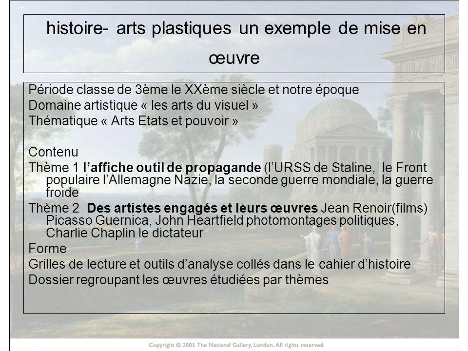 histoire- arts plastiques un exemple de mise en œuvre Période classe de 3ème le XXème siècle et notre époque Domaine artistique « les arts du visuel »