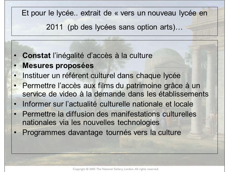Et pour le lycée.. extrait de « vers un nouveau lycée en 2011 (pb des lycées sans option arts)… Constat linégalité daccès à la culture Mesures proposé