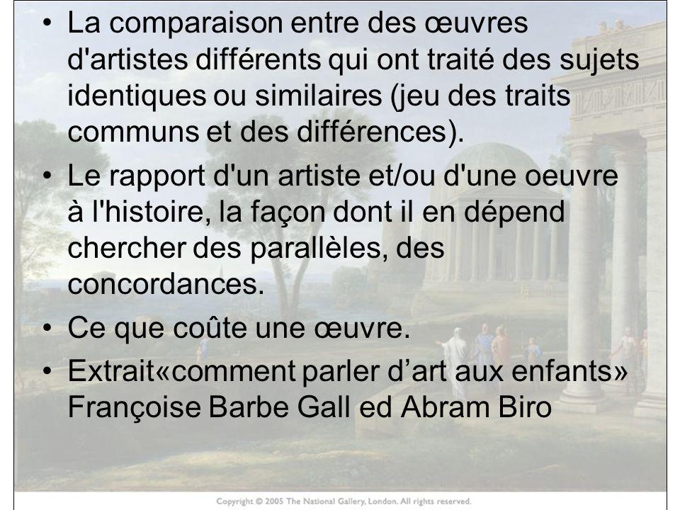 La comparaison entre des œuvres d'artistes différents qui ont traité des sujets identiques ou similaires (jeu des traits communs et des différences).