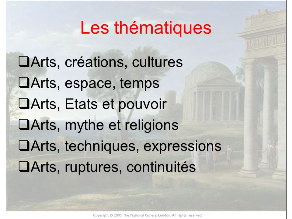 HISTOIRE DES ARTS Les thématiques Arts, créations, cultures Arts, espace, temps Arts, Etats et pouvoir Arts, mythe et religions Arts, techniques, expr