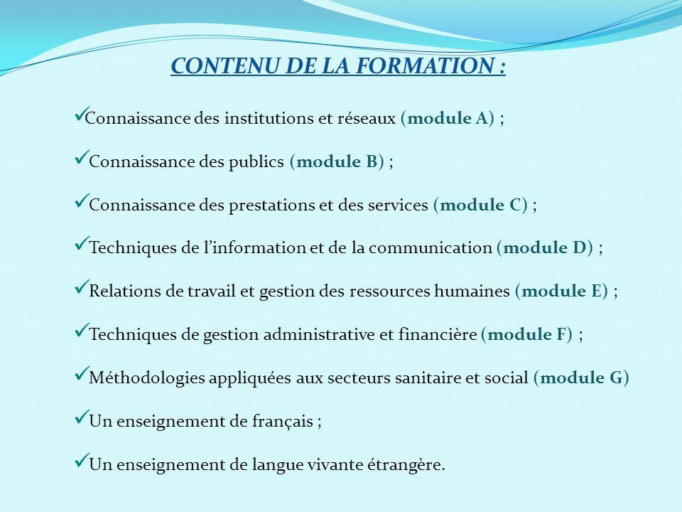 CONTENU DE LA FORMATION : Connaissance des institutions et réseaux (module A) ; Connaissance des publics (module B) ; Connaissance des prestations et
