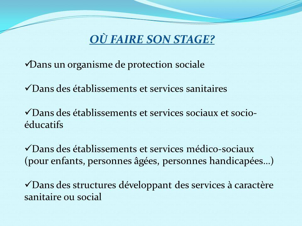 OÙ FAIRE SON STAGE? Dans un organisme de protection sociale Dans des établissements et services sanitaires Dans des établissements et services sociaux