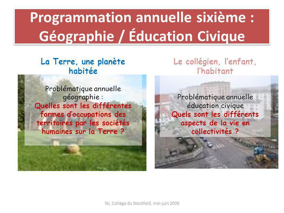 Programmation annuelle sixième : Géographie / Éducation Civique La Terre, une planète habitée Problématique annuelle géographie : Quelles sont les dif