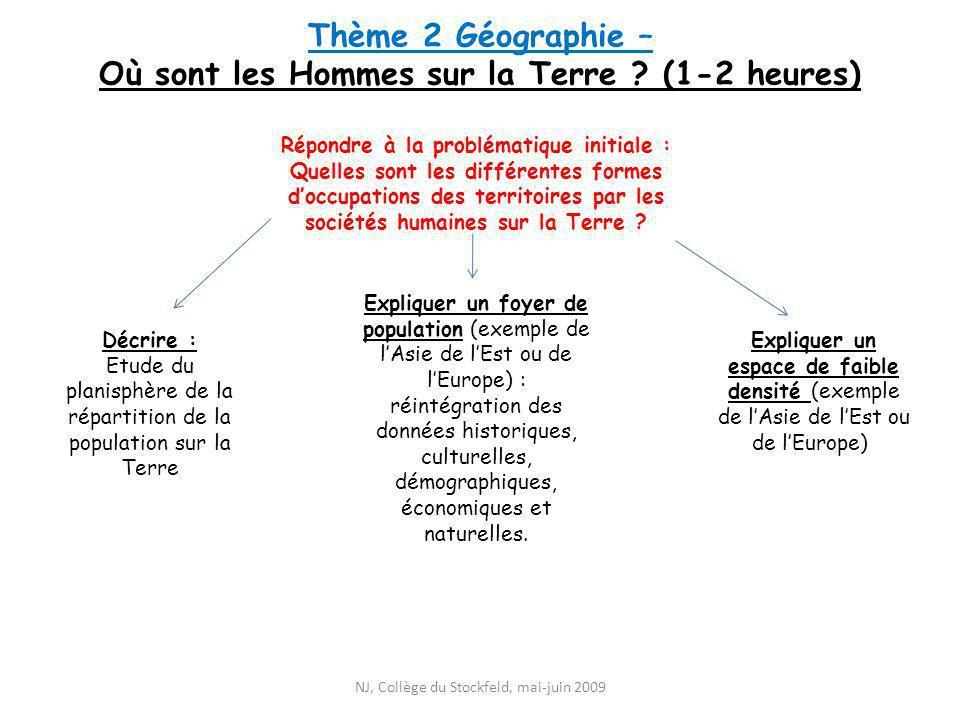 Thème 2 Géographie – Où sont les Hommes sur la Terre ? (1-2 heures) Expliquer un espace de faible densité (exemple de lAsie de lEst ou de lEurope) Rép