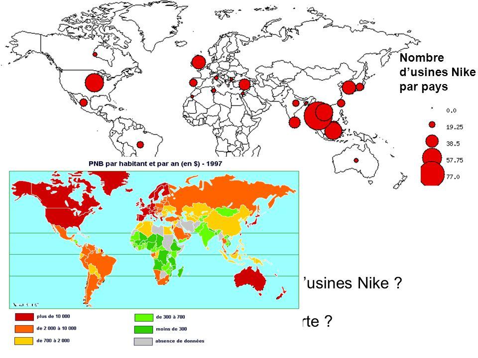 Quel est le continent où se situe le plus dusines Nike .