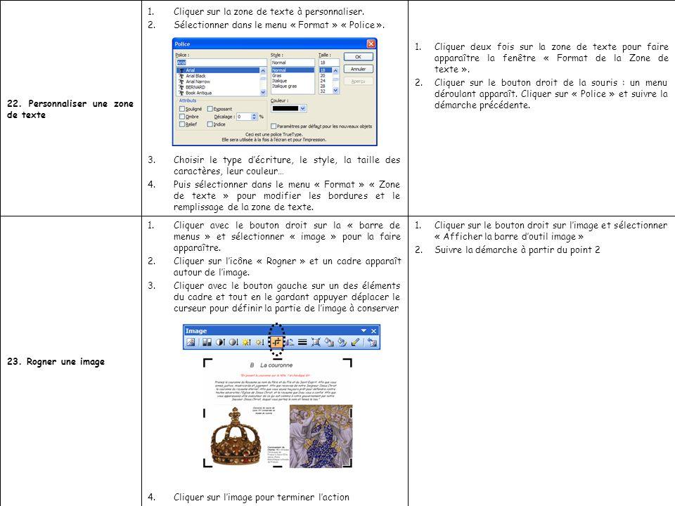 1.Cliquer deux fois sur la zone de texte pour faire apparaître la fenêtre « Format de la Zone de texte ». 2.Cliquer sur le bouton droit de la souris :