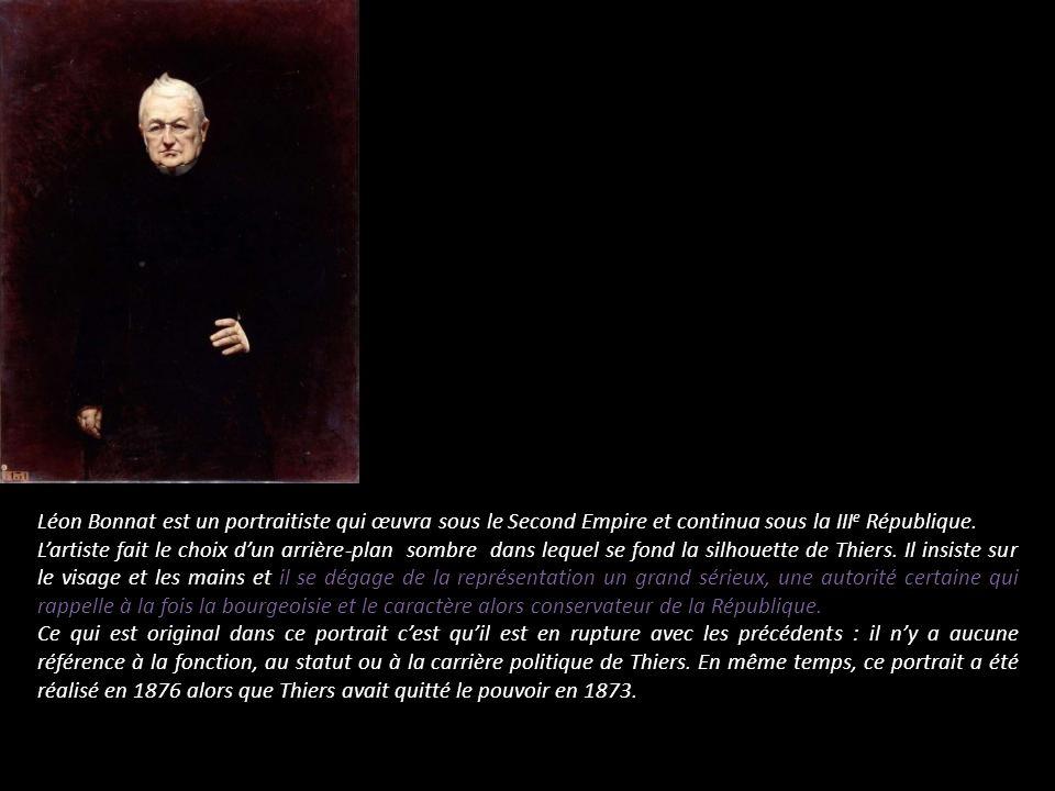 Léon Bonnat est un portraitiste qui œuvra sous le Second Empire et continua sous la III e République. Lartiste fait le choix dun arrière-plan sombre d