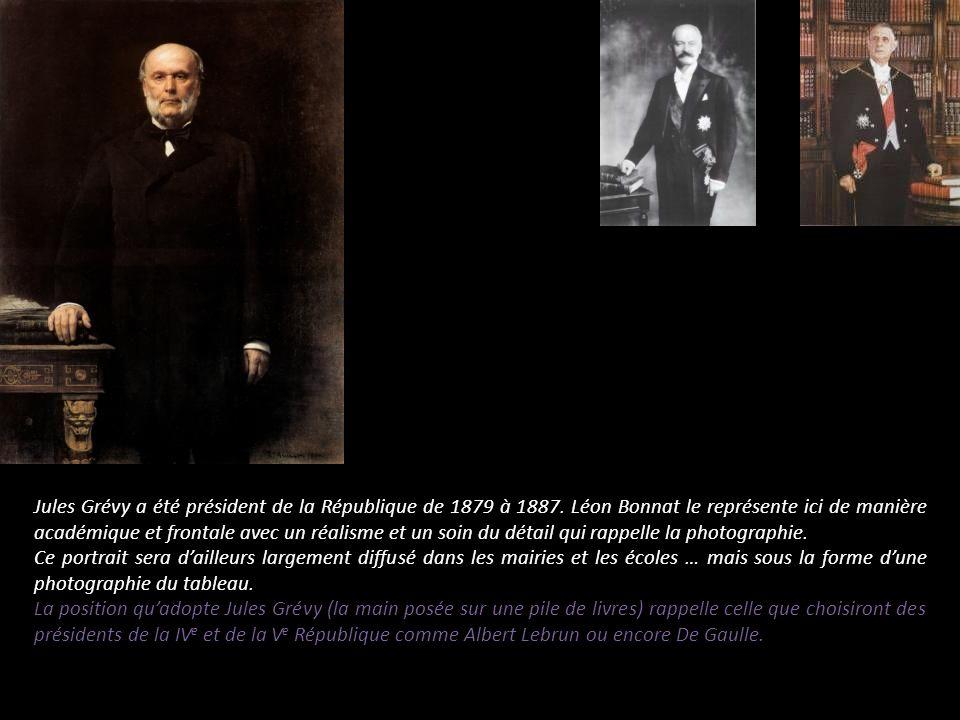 Jules Grévy a été président de la République de 1879 à 1887. Léon Bonnat le représente ici de manière académique et frontale avec un réalisme et un so