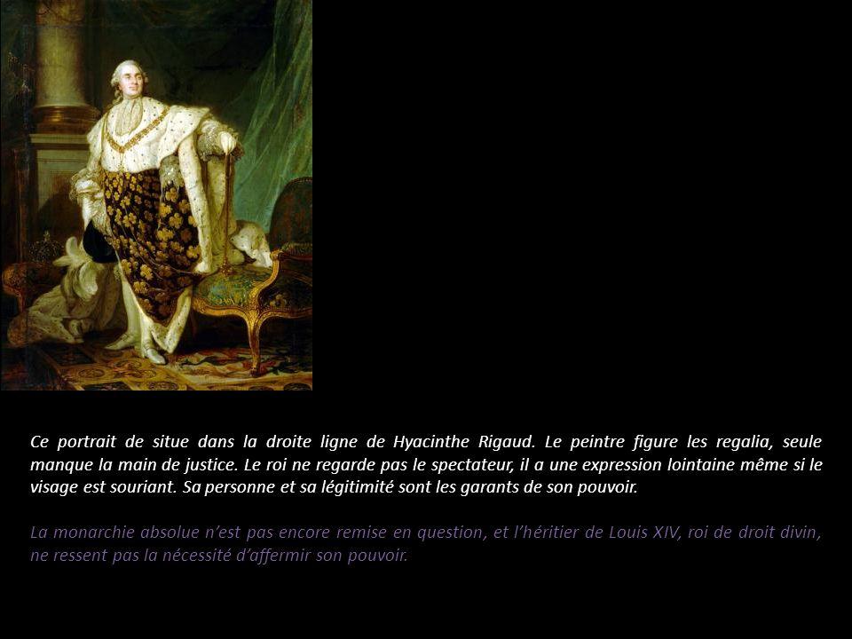 Ce portrait de situe dans la droite ligne de Hyacinthe Rigaud. Le peintre figure les regalia, seule manque la main de justice. Le roi ne regarde pas l