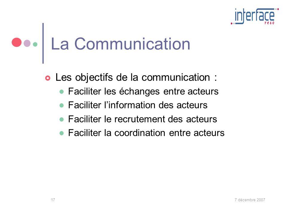 7 décembre 200717 La Communication Les objectifs de la communication : Faciliter les échanges entre acteurs Faciliter linformation des acteurs Faciliter le recrutement des acteurs Faciliter la coordination entre acteurs