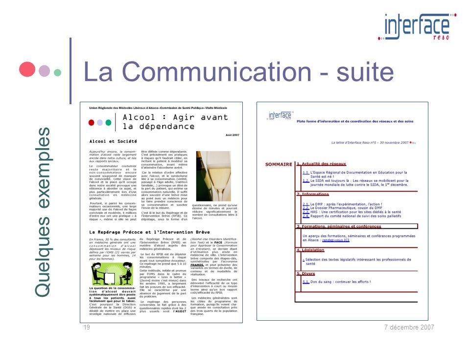 7 décembre 200719 La Communication - suite Quelques exemples