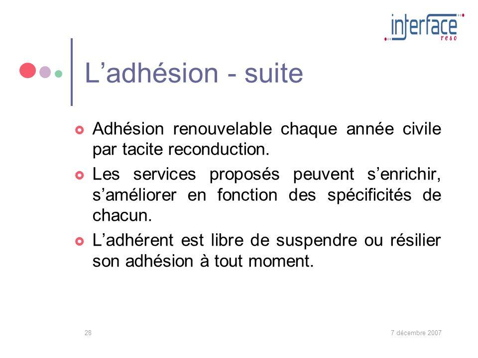 7 décembre 200728 Ladhésion - suite Adhésion renouvelable chaque année civile par tacite reconduction.