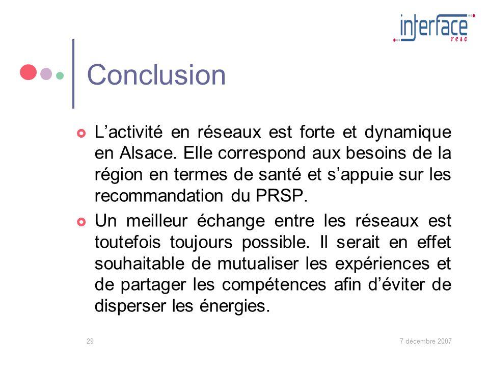 7 décembre 200729 Conclusion Lactivité en réseaux est forte et dynamique en Alsace.
