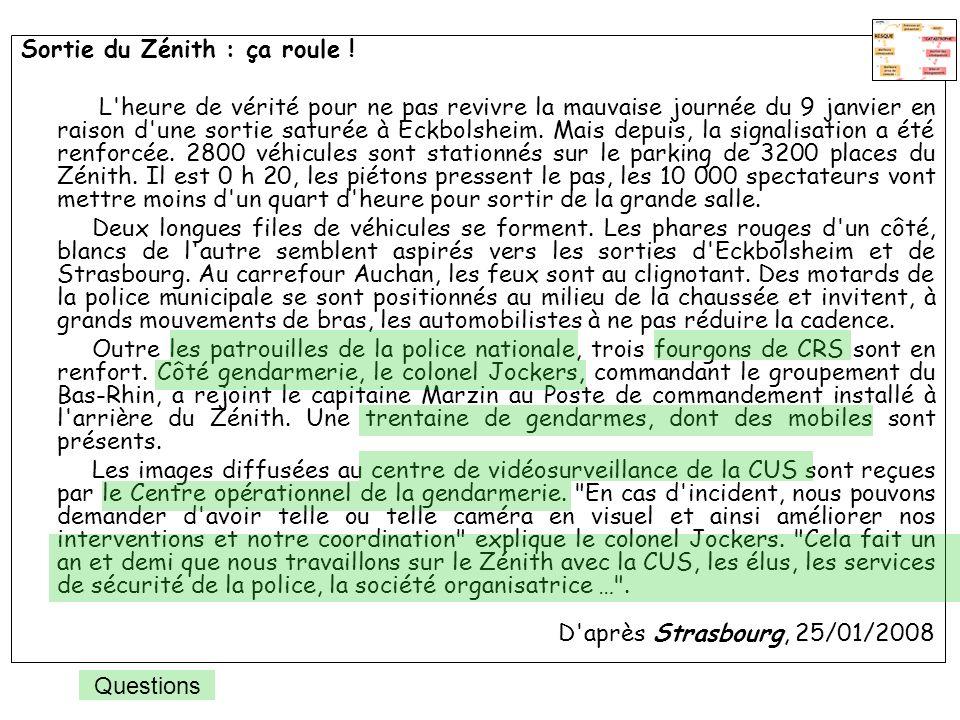 Sortie du Zénith : ça roule ! L'heure de vérité pour ne pas revivre la mauvaise journée du 9 janvier en raison d'une sortie saturée à Eckbolsheim. Mai