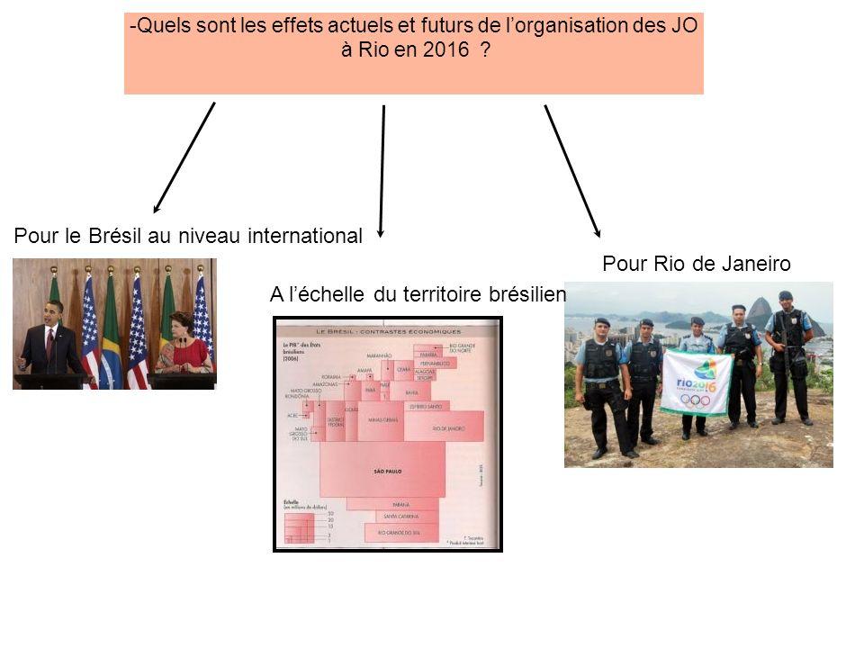 Quels sont les effets actuels et futurs de lorganisation des JO à Rio en 2016 ? Pour le Brésil au niveau international A léchelle du territoire brésil