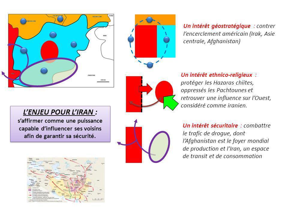 Un intérêt géostratégique : contrer lencerclement américain (Irak, Asie centrale, Afghanistan) Un intérêt ethnico-religieux : protéger les Hazaras chi