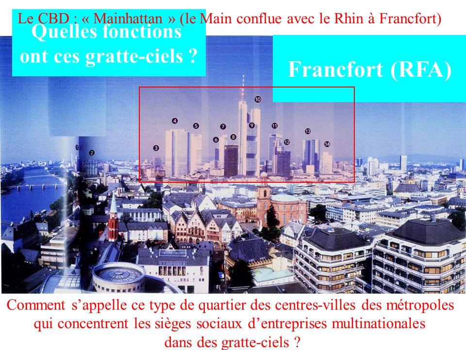Francfort (RFA) Quelles fonctions ont ces gratte-ciels ? Comment sappelle ce type de quartier des centres-villes des métropoles qui concentrent les si