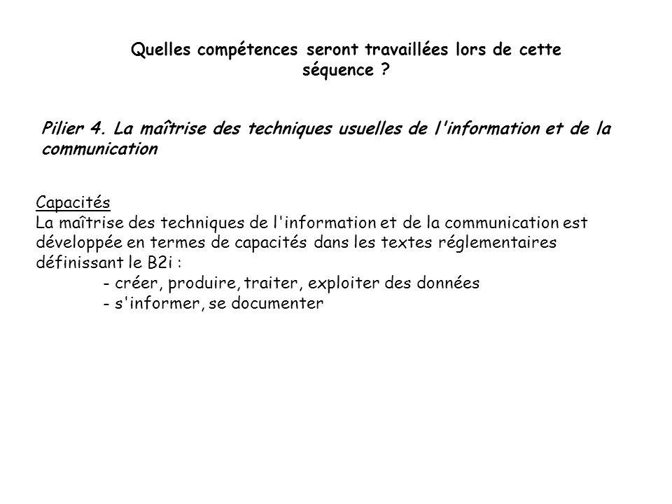 Pilier 4. La maîtrise des techniques usuelles de l'information et de la communication Quelles compétences seront travaillées lors de cette séquence ?