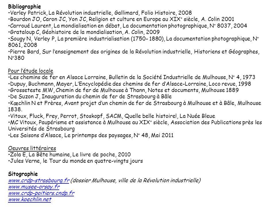 Bibliographie Verley Patrick, La Révolution industrielle, Gallimard, Folio Histoire, 2008 Bourdon JO, Caron JC, Yon JC, Religion et culture en Europe au XIX° siècle, A.