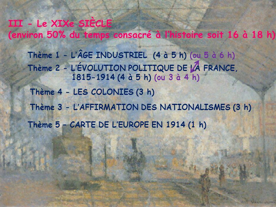 III - Le XIXe SIÈCLE (environ 50% du temps consacré à lhistoire soit 16 à 18 h) Thème 1 - LÂGE INDUSTRIEL (4 à 5 h) (ou 5 à 6 h) Thème 2 - LÉVOLUTION POLITIQUE DE LA FRANCE, 1815-1914 (4 à 5 h) (ou 3 à 4 h) Thème 4 - LES COLONIES (3 h) Thème 3 - LAFFIRMATION DES NATIONALISMES (3 h) Thème 5 – CARTE DE LEUROPE EN 1914 (1 h)
