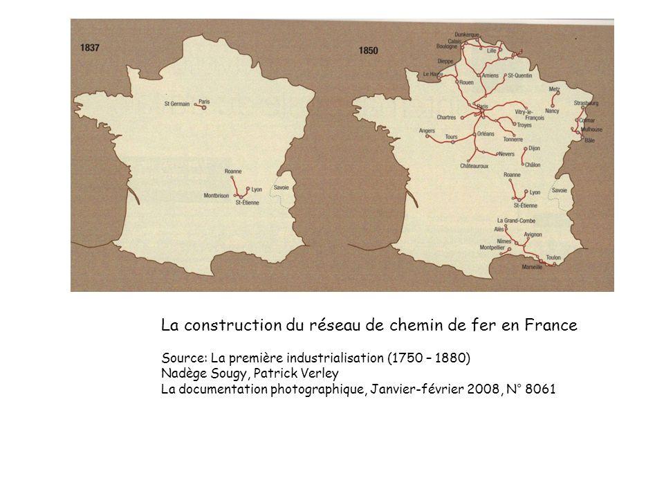 La construction du réseau de chemin de fer en France Source: La première industrialisation (1750 – 1880) Nadège Sougy, Patrick Verley La documentation photographique, Janvier-février 2008, N° 8061